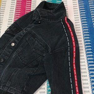 Distressed black and red denim jacket